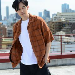 コーエン(メンズ)(coen)/ワイドフィットコットンレーヨンチェックオープンカラーシャツ