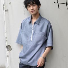 コーエン(メンズ)(coen)/ドロップショルダーハーフジップシャツ