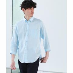タケオキクチ(TAKEO KIKUCHI)/リネン ボタンダウン 7分袖 シャツ