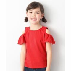 デビロック(devirock)/子供服 半袖Tシャツ キッズ 韓国子供服 オフショル&フリル袖Tシャツ 女の子 トップス