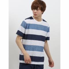 タカキュー(TAKA−Q)/接触冷感 スペースリップルボーダークルーネック半袖Tシャツ