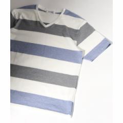 ジャーナルスタンダード(メンズ)(JOURNAL STANDARD MEN'S)/メンズTシャツ(マルチボーダーVネック Tシャツ)