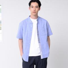 コーエン(メンズ)(coen)/フロント切替綿麻ボタンダウンシャツ