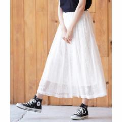 【NEW】アール・ピー・エス(r.p.s)/ストライプレースロングギャザースカート