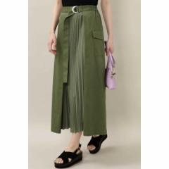 【NEW】ローズバッド(ROSE BUD)/異素材プリーツスカート