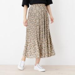 【NEW】サンカンシオン(レディス)(3can4on Ladies)/【洗える】消しプリーツ小花柄ロングスカート
