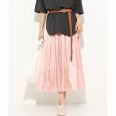 ビス(ViS)/シャイニーサテンフェードアウトプリーツスカート