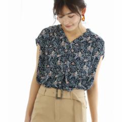 ビス(ViS)/花柄プリントフレンチ袖ブラウス