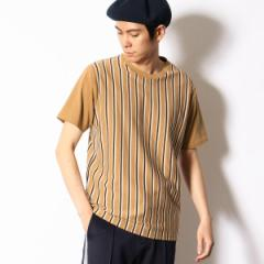 【NEW】コムサコミューン(COMME CA COMMUNE)/リヨセル混 ストライプTシャツ