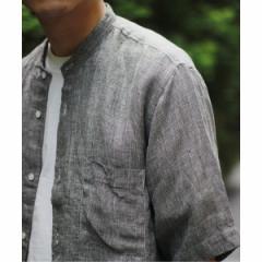 【NEW】ジャーナルスタンダード レリューム(メンズ)(JOURNAL STANDARD relume)/メンズシャツ(Linen Panama バンドカラーシャツ)