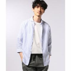 【NEW】エディフィス(EDIFICE)/メンズシャツ(リネン パターン 7分袖 カッタウェイカラー シャツ)