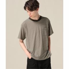 【NEW】417エディフィス(417 EDIFICE)/メンズTシャツ(ナローボーダーエリハイショクTシャツ)