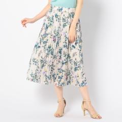 ノーリーズ レディース(NOLLEY'S)/フラワープリントサテンプリーツスカート