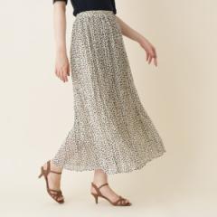 クチュールブローチ(Couture Brooch)/【WEB限定販売手洗い可】INNOWAVE(イノウェーブ)変形ドットシフォンプリーツロングスカート