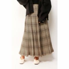 ヴァンスエクスチェンジ レディース(VENCE EXCHANGE)/チェック消しプリーツスカート