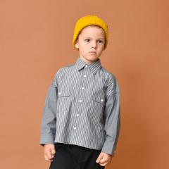 ブランシェス(branshes)/ストライプ切り替え長袖シャツ