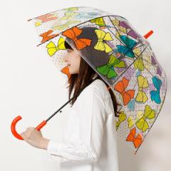 ジェニファー(Jennifer)/【バードゲージビニール雨傘】長傘・ジャンプ式・リボン柄・レディース雨傘