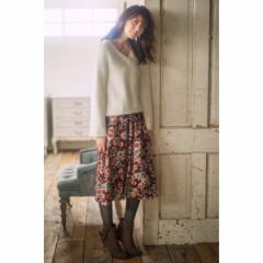 ヴェール ブラン(VERS BLANCS)/ベロア花柄ギャザースカート