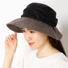 フルラ(ネックウェア・帽子)(FURLA)/【サイズ調整OK】手洗いできるUV麻ブレード×布帛掛け合わせ中つばハット