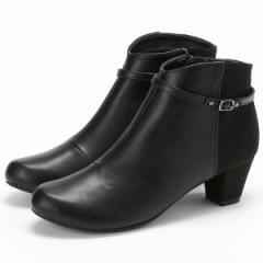 ヴェリココ(velikoko)/[ラクチンきれいブーツ]晴雨兼用ベルト付き異素材コンビブーツ(4.5cmヒール)