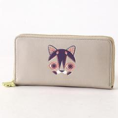 クラウスハーパニエミ/クラウスハーパニエミ ラウンド財布 ネコの刺繍入り