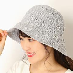 フルラ(ネックウェア・帽子)(FURLA)/【サイズ調整OK】手洗いできるラメ入りペーパー編み ビジュー調付きハット