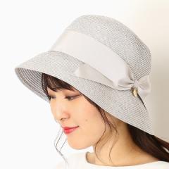 フルラ(ネックウェア・帽子)(FURLA)/【UV遮蔽率98.9%以上・サイズ調整OK】手洗いできるペーパーブレード リボン巻きハット