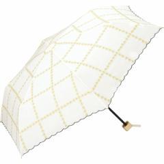 w.p.c(WPC)/日傘 晴雨兼用 折りたたみ ラインフラワー刺繍mini(レディース/雨の日も使える)