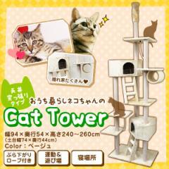 店長暴走 5個限定 7,777円 キャットタワー 突っ張り 猫 タワー 全高 240〜260cm ねこタワー 猫タワー キャットランド 猫のキャットタワー