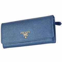 プラダ PRADA  長財布 レディース サフィアーノ パスケース付き  二つ折り長財布 メタリック ブルー  1MH132 QWA CSQ