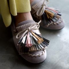 タッセルモカシン 靴 レディース モカシン 異素材 送料無料・再再販。メール便不可