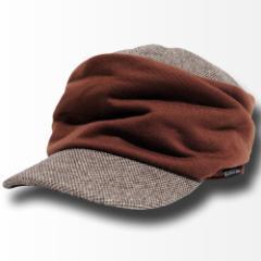 BIGWATCH正規品 大きいサイズ 帽子 メンズ シャーリング ツイード ワークキャップ ブラウン/キャスケット/ビッグワッチ/つば付帽子/Lサ