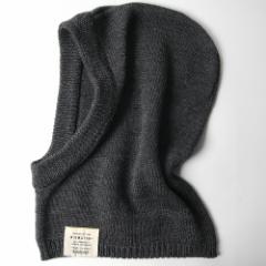 BIGWATCH正規品 大きいサイズ 帽子 メンズ ウール フードウォーマー フーデッドネックウォーマー チャコール フード付きネックウォーマー