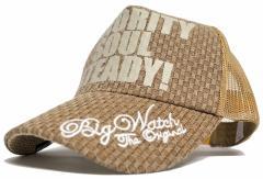 BIGWATCH正規品 大きいサイズ 帽子 メンズ カーボンキャップ/ブラウン/ベージュ/メッシュキャップ/ビッグサイズ/ビッグワッチ L XL UVケ