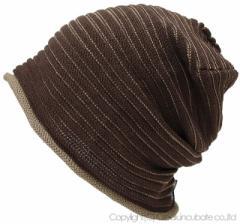 BIGWATCH正規品 大きいサイズ 帽子 メンズ ヘンプ スリムボーダー ビッグワッチ/ブラウン/グレージュ/ニットキャップ/ニット帽/ルーズ/ヘ