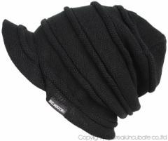 BIGWATCH正規品 大きいサイズ 帽子 メンズ ニットキャップ L XL つば付き ヘンプロール ニット帽子 ワッチキャップ ビーニー 黒 ビッグワ