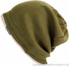 BIGWATCH正規品 大きいサイズ 帽子 メンズ レイヤード ニットキャップ ビッグワッチ/カーキ(緑)ベージュ/ニット帽 L XL 防寒 RY-02