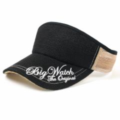 BIGWATCH正規品 大きいサイズ 帽子 メンズ ゴルフ ヘンプサンバイザー刺繍/ブラック/ベージュ/ビッグワッチ/サンバイザー L XL 春夏秋冬