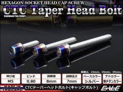 テーパーヘッドボルト CTC キャップボルト M5×30mm ステンレス 六角穴 シルバー/焼チタンカラー TB0599