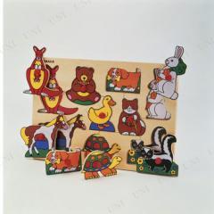 知育教材 アニマルパズル オモチャ 知育玩具 幼児 木のおもちゃ 木製玩具