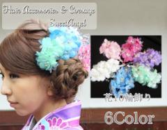 髪飾り コサージュ 花10輪飾り 6color クリップ&ピン ct cs