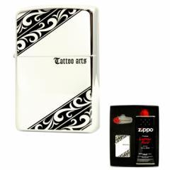 ZIPPO(ジッポー) TATOOシリーズ 両面エッチング シルバーミラー仕上げ シルバー ZIPPO社ギフトセット gift-tatoo-spbk1 送料無料