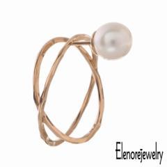 エレノアジュエリー Elenore Jewelry 10K ゴールド ピアス レディース パール X スタッド 片耳用 1個売り 真珠 ギフト プレゼント おしゃ