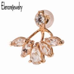 エレノアジュエリー Elenore Jewelry 10K ゴールド ピアス ブルーム トパーズ イヤージャケット 片耳用 ホワイトトパーズ ELE0007