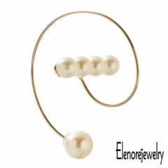 エレノアジュエリー Elenore Jewelry 10K ゴールド ピアス レディース 10金 パール バースパイラルフープ 片耳用 1個売り ギフト プレゼ