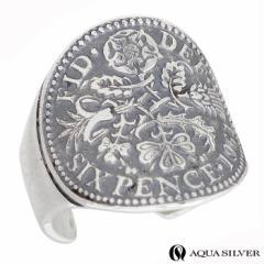 アクアシルバー AQUA SILVER シルバー イヤーカフ 6ペンス コイン 1個売り 片耳用 メンズ レディース ASEC006F