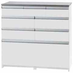 大容量 キッチン収納 キッチンカウンター 【引き出しタイプ 幅90cm ホワイト】 キャスター 引き出し付き ステンレス メーカーより直送い