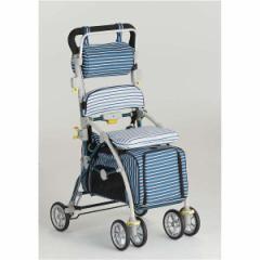 【フランスベッド】 ペットカート シルバーカー 【しま ブルー】 ブレーキ 杖ホルダー付き 『ラクティブペット』 メーカーより直送いたし