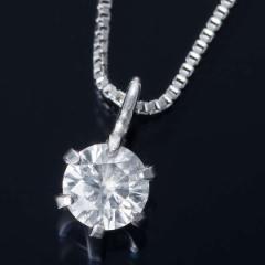 純プラチナ 0.1ct ダイヤモンド ペンダント ネックレス ベネチアンチェーン 鑑別書付き