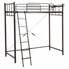 ロフトベッド 寝具 【ダークブラウン 高さ206.5cm シングル】 約幅97cm スチール 組立品 KH-3923DBR 【ハンガーポール別売】 メーカーよ